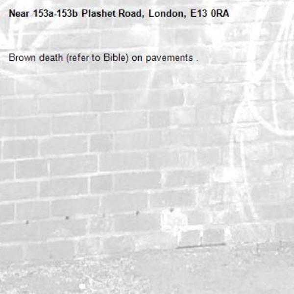 Brown death (refer to Bible) on pavements .-153a-153b Plashet Road, London, E13 0RA