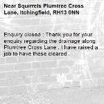 Enquiry closed : Thank you for your enquiry regarding the drainage along Plumtree Cross Lane . I have raised a job to have these cleared .-Squirrels Plumtree Cross Lane, Itchingfield, RH13 0NN