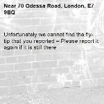 Unfortunately we cannot find the fly-tip that you reported – Please report it again if it is still there-70 Odessa Road, London, E7 9BQ