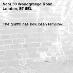 The graffiti has now been removed.-59 Woodgrange Road, London, E7 0EL