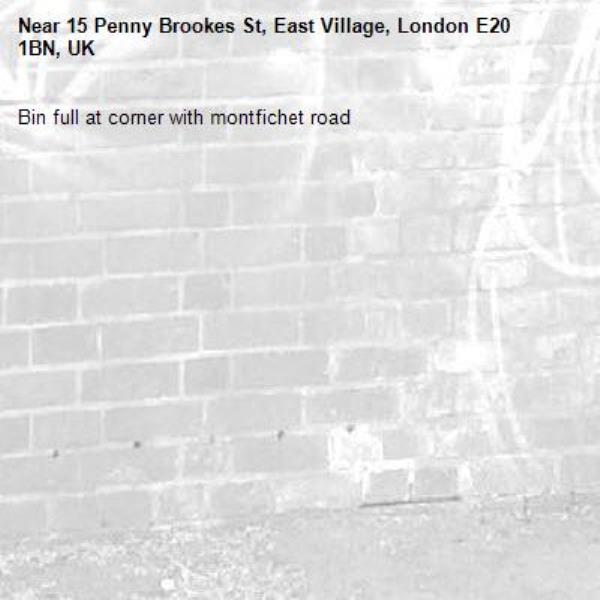 Bin full at corner with montfichet road-15 Penny Brookes St, East Village, London E20 1BN, UK