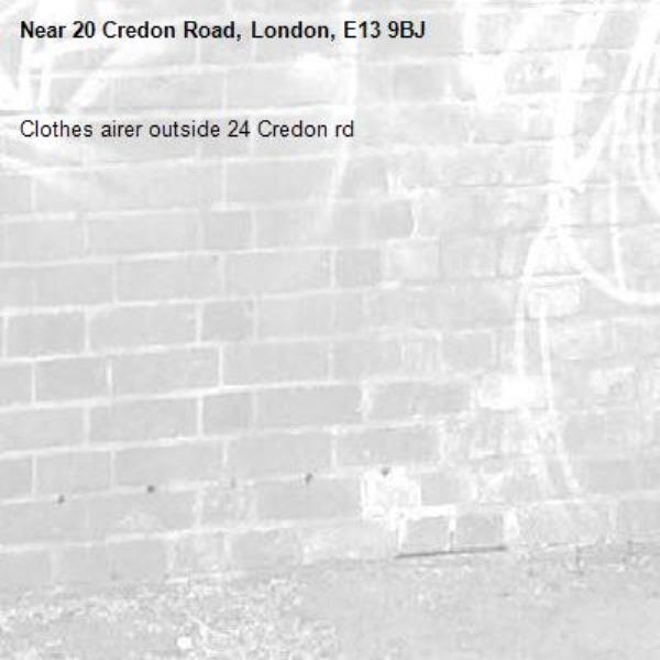 Clothes airer outside 24 Credon rd-20 Credon Road, London, E13 9BJ