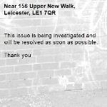 This issue is being investigated and will be resolved as soon as possible.   Thank you -156 Upper New Walk, Leicester, LE1 7QR