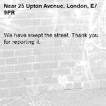 We have swept the street. Thank you for reporting it.-25 Upton Avenue, London, E7 9PR