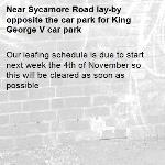 Our leafing schedule is due to start next week the 4th of November so this will be cleared as soon as possible -Sycamore Road lay-by opposite the car park for King George V car park