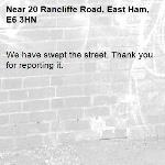 We have swept the street. Thank you for reporting it.-20 Rancliffe Road, East Ham, E6 3HN