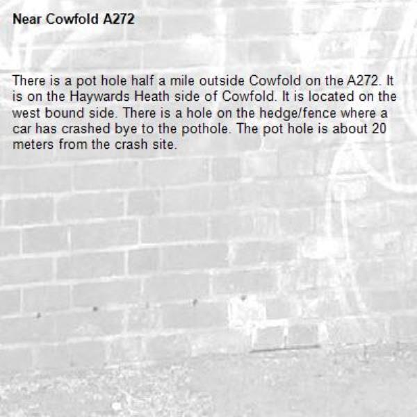 There is a pot hole half a mile outside Cowfold on the A272. It is on the Haywards Heath side of Cowfold. It is located on the west bound side. There is a hole on the hedge/fence where a car has crashed bye to the pothole. The pot hole is about 20 meters from the crash site. -Cowfold A272
