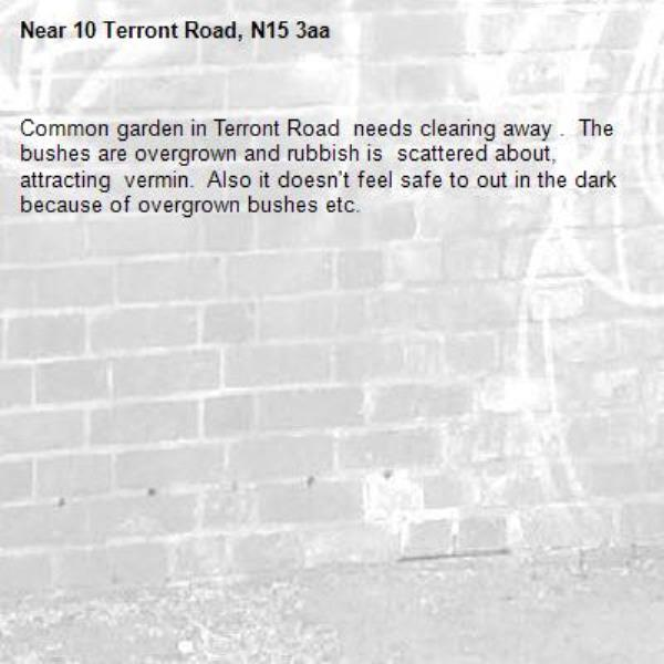 Common garden in Terront Road  needs clearing away .  The bushes are overgrown and rubbish is  scattered about, attracting  vermin.  Also it doesn't feel safe to out in the dark because of overgrown bushes etc.-10 Terront Road, N15 3aa