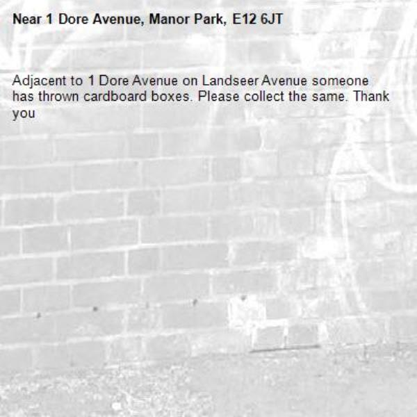 Adjacent to 1 Dore Avenue on Landseer Avenue someone has thrown cardboard boxes. Please collect the same. Thank you-1 Dore Avenue, Manor Park, E12 6JT