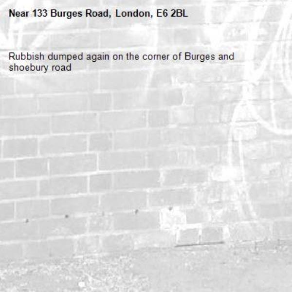 Rubbish dumped again on the corner of Burges and shoebury road -133 Burges Road, London, E6 2BL
