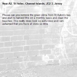 Please can you remove the green slime from St Aubin's bay and start to harvest this on a monthly basis and clean the beaches. This really does look so awful now and I am ashamed that you have all done so little.-A2, St Helier, Channel Islands, JE2 3, Jersey