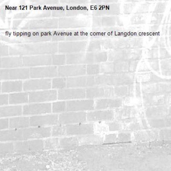 fly tipping on park Avenue at the corner of Langdon crescent -121 Park Avenue, London, E6 2PN