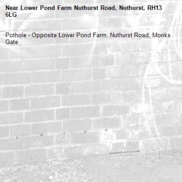 Pothole - Opposite Lower Pond Farm, Nuthurst Road, Monks Gate-Lower Pond Farm Nuthurst Road, Nuthurst, RH13 6LG