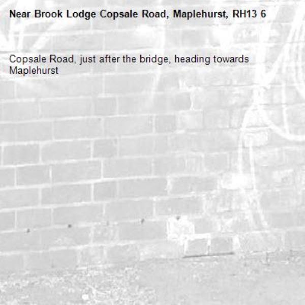 Copsale Road, just after the bridge, heading towards Maplehurst-Brook Lodge Copsale Road, Maplehurst, RH13 6