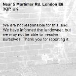 We are not responsible for this land. We have informed the landowner, but we may not be able to  resolve ourselves. Thank you for reporting it.-5 Mortimer Rd, London E6 3QP, UK