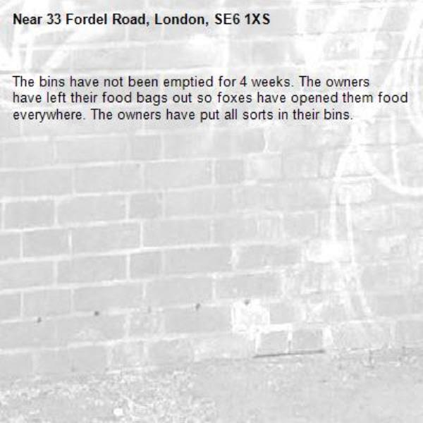 The bins have not been emptied for 4 weeks. The owners have left their food bags out so foxes have opened them food everywhere. The owners have put all sorts in their bins. -33 Fordel Road, London, SE6 1XS