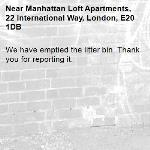 We have emptied the litter bin. Thank you for reporting it.-Manhattan Loft Apartments, 22 International Way, London, E20 1DB