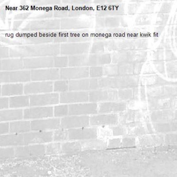 rug dumped beside first tree on monega road near kwik fit-362 Monega Road, London, E12 6TY