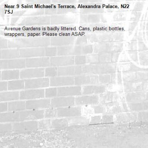 Avenue Gardens is badly littered. Cans, plastic bottles, wrappers, paper. Please clean ASAP.-9 Saint Michael's Terrace, Alexandra Palace, N22 7SJ