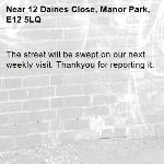 The street will be swept on our next weekly visit. Thankyou for reporting it.-12 Daines Close, Manor Park, E12 5LQ