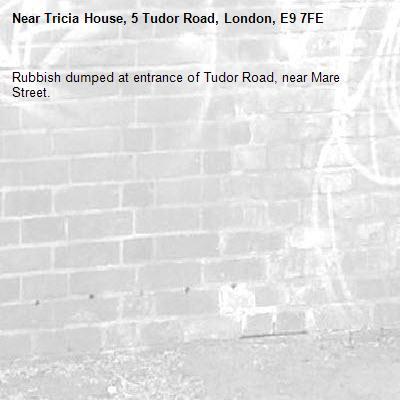 Rubbish dumped at entrance of Tudor Road, near Mare Street.-Tricia House, 5 Tudor Road, London, E9 7FE