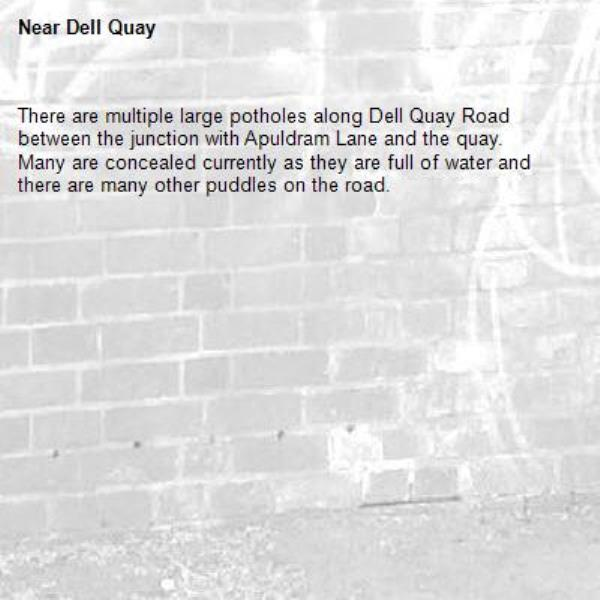 There are multiple large potholes along Dell Quay Road between the junction with Apuldram Lane and the quay.  Many are concealed currently as they are full of water and there are many other puddles on the road.-Dell Quay