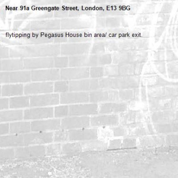 flytipping by Pegasus House bin area/ car park exit.-91a Greengate Street, London, E13 9BG
