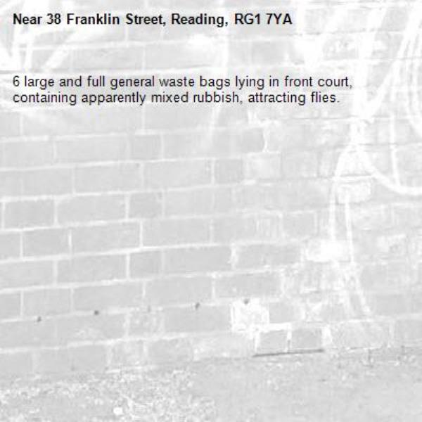 6 large and full general waste bags lying in front court, containing apparently mixed rubbish, attracting flies.-38 Franklin Street, Reading, RG1 7YA