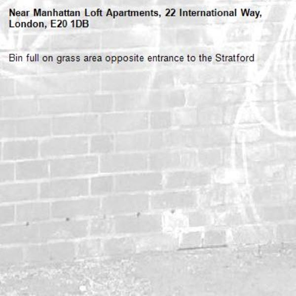 Bin full on grass area opposite entrance to the Stratford -Manhattan Loft Apartments, 22 International Way, London, E20 1DB