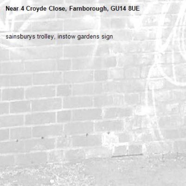 sainsburys trolley, instow gardens sign-4 Croyde Close, Farnborough, GU14 8UE