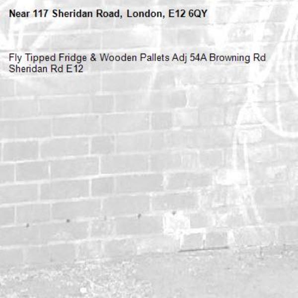 Fly Tipped Fridge & Wooden Pallets Adj 54A Browning Rd Sheridan Rd E12-117 Sheridan Road, London, E12 6QY