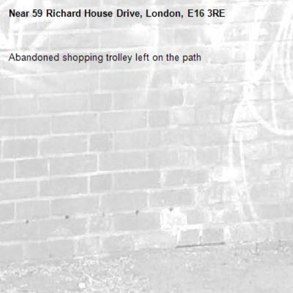 Abandoned shopping trolley left on the path-59 Richard House Drive, London, E16 3RE