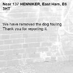 We have removed the dog fouling. Thank you for reporting it.-137 HENNIKER, East Ham, E6 3HT