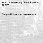 The graffiti has now been removed.-14 Armstrong Close, London, E6 5PP