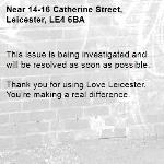 This issue is being investigated and will be resolved as soon as possible.  Thank you for using Love Leicester. You're making a real difference.-14-16 Catherine Street, Leicester, LE4 6BA