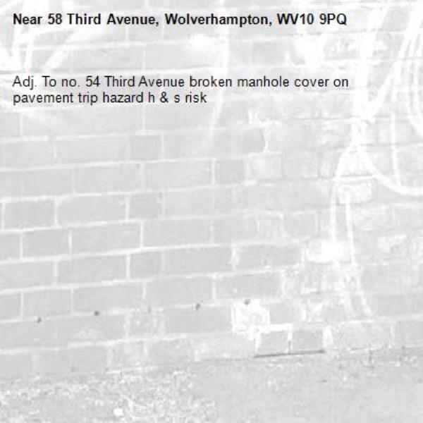 Adj. To no. 54 Third Avenue broken manhole cover on pavement trip hazard h & s risk -58 Third Avenue, Wolverhampton, WV10 9PQ