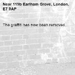 The graffiti has now been removed.-119b Earlham Grove, London, E7 9AP