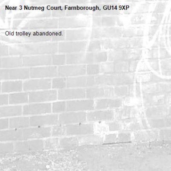 Old trolley abandoned. -3 Nutmeg Court, Farnborough, GU14 9XP