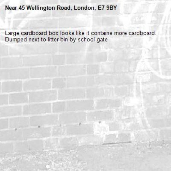 Large cardboard box looks like it contains more cardboard. Dumped next to litter bin by school gate-45 Wellington Road, London, E7 9BY