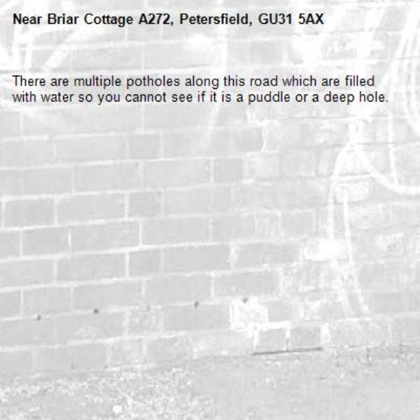 There are multiple potholes along this road which are filled with water so you cannot see if it is a puddle or a deep hole.-Briar Cottage A272, Petersfield, GU31 5AX