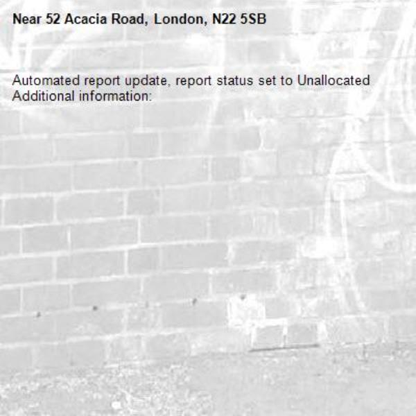 Automated report update, report status set to Unallocated Additional information:  -52 Acacia Road, London, N22 5SB