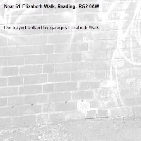 Destroyed bollard by garages Elizabeth Walk.-61 Elizabeth Walk, Reading, RG2 0AW
