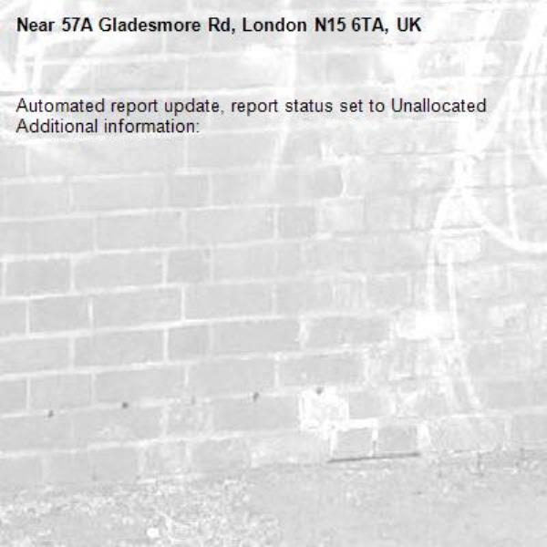 Automated report update, report status set to Unallocated Additional information:  -57A Gladesmore Rd, London N15 6TA, UK