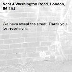 We have swept the street. Thank you for reporting it.-4 Washington Road, London, E6 1AJ