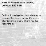 Further investigation is underway to resolve this issue by our Grounds Maintenance team. Thankyou for reporting it.-38 Woodhouse Grove, London, E12 6SR