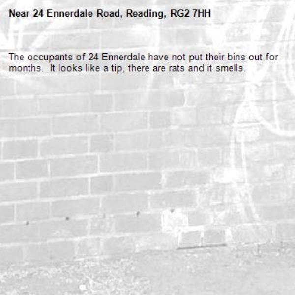 The occupants of 24 Ennerdale have not put their bins out for months.  It looks like a tip, there are rats and it smells.-24 Ennerdale Road, Reading, RG2 7HH