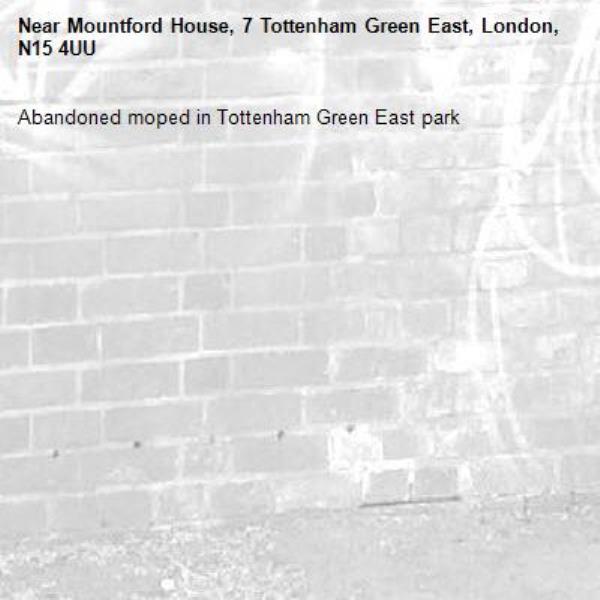 Abandoned moped in Tottenham Green East park-Mountford House, 7 Tottenham Green East, London, N15 4UU