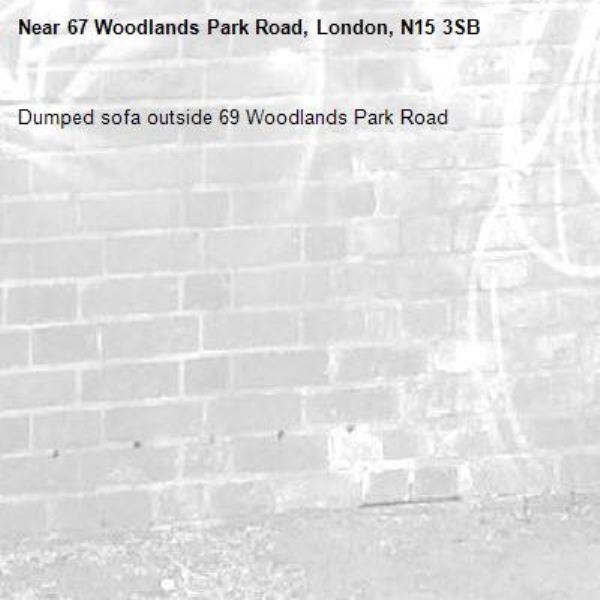 Dumped sofa outside 69 Woodlands Park Road-67 Woodlands Park Road, London, N15 3SB