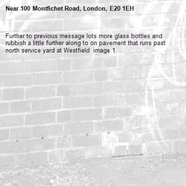 Further to previous message lots more glass bottles and rubbish a little further along to on pavement that runs past north service yard at Westfield  image 1-100 Montfichet Road, London, E20 1EH