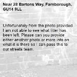 Unfortunately from the photo provided I am not able to see what litter has been left. Please can you provide either another photo or more info on what it is there so I can pass this to our streets team.-28 Bartons Way, Farnborough, GU14 9LL